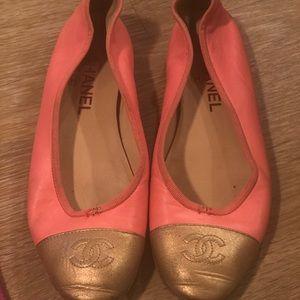 Chanel Lambskin Flats with wood heel